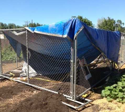 Crews in Stockton are checking out a sizeable sinkhole that appeared inside a community garden.
