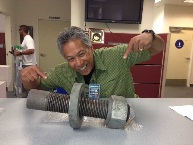 """Testing took place Friday in Oakland. Here's KCRA 3 photojournalist Michael """"Domi"""" Domaloag with one of the bridge parts (Aug. 2, 2013)."""