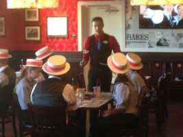 Servers practiced routines in an entertainment class at Farrell's.