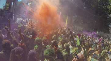 """The ColorRun's slogan is that it is the """"Happiest 5k on the Planet"""" and paints the participants in shades of red, blue, yellow and green."""