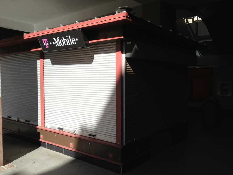 This T-Mobile kiosk was one of many K Street Mall vendors that lost business Monday (Aug. 5, 2013).
