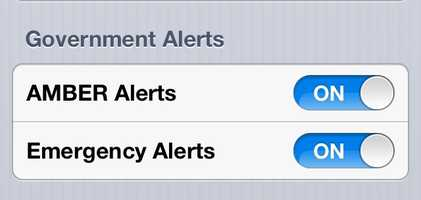 """Scroll to the bottom until you find the """"Government Alerts"""" section. You can toggle AMBER and Emergency alerts on and off."""