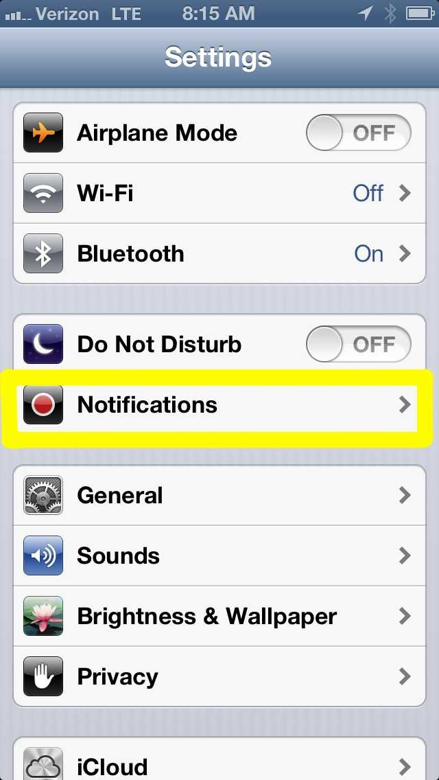 "Go to your phone's Settings and click on ""Notifications""."