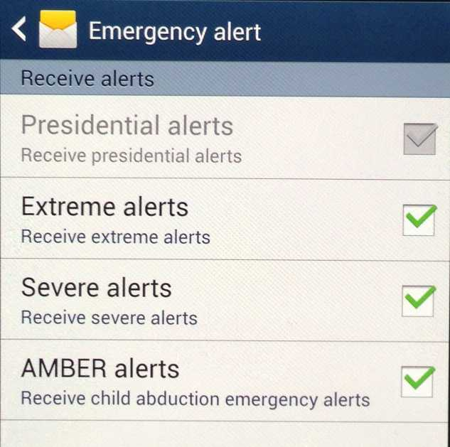 Check the boxes to turn Extreme, Severe and AMBER alerts on and off.
