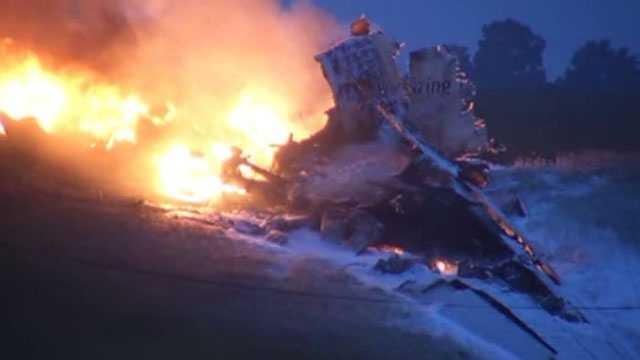 UPS plane on fire