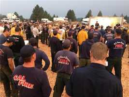 Firefighters who attend a morning briefing at the American Fire are warned to watch for lightning and potential for new starts.