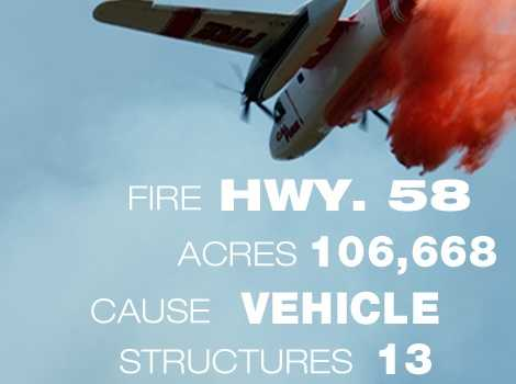 17. The Highway 58 Fire in San Luis Obispo County burned through 105,805 acres in August 1996. It killed 10.
