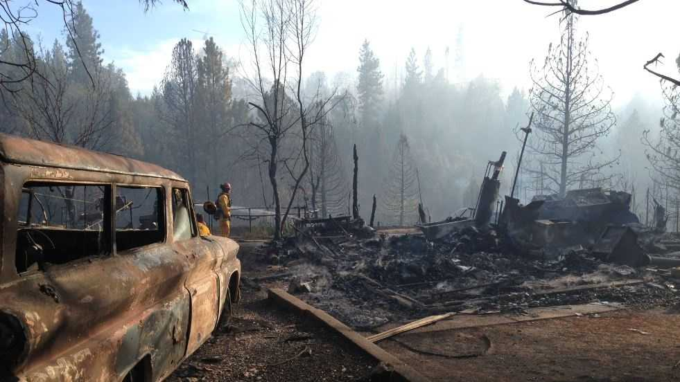 Crews were on the scene of a 45-acre fire in the El Dorado County city of Georgetown on Saturday where at least one home was destroyed.