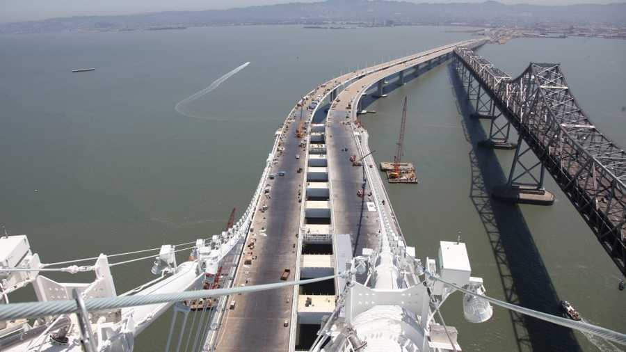 In this eastbound view from the top of a cable, you can see the new side-by-side configuration, which will open up to panoramic views of the San Francisco bay and the East Bay hills.