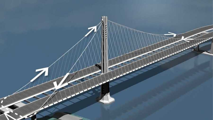 This illustration shows how a single cable supports a part of the bridge.