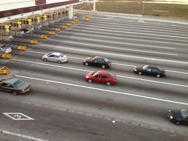 Cars cross the Bay Bridge in the final minutes before it closes for five days (Aug. 28, 2013).
