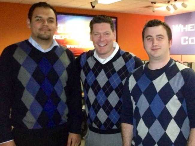 3. It's true: I love argyle and frequently orchestrate style days at the station (pictured with Web Editor Gama Ortiz, far left, and Digital Media Manager Shawn Brouwer).
