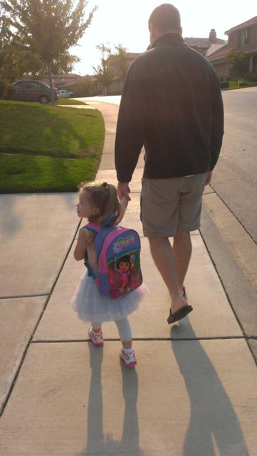 8. My favorite walk is 10 houses down, with my daughter to preschool.