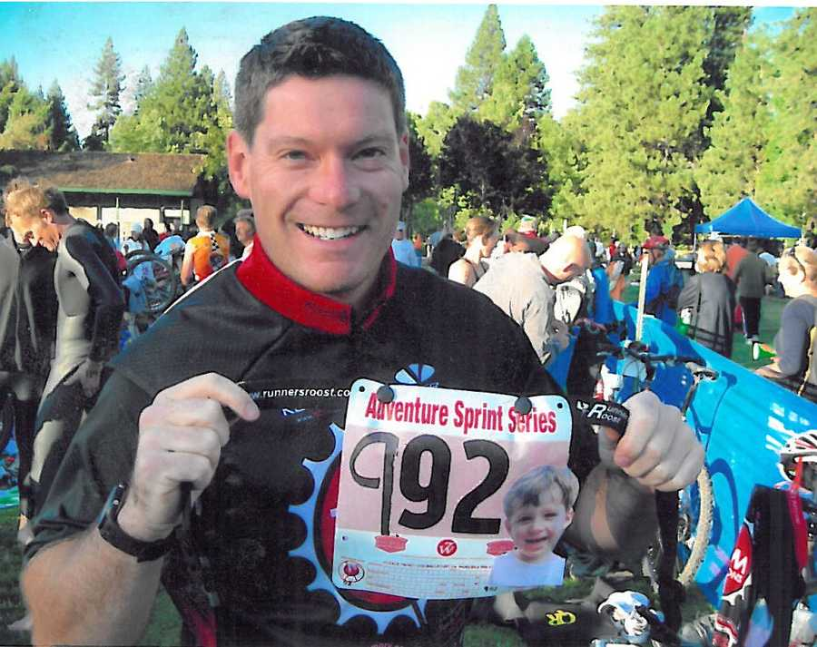15. I have completed several X-Terra triathlons in both Colorado and Lake Tahoe, and also one marathon in Steamboat Springs, Colorado. I always put pictures of my kids on my number plates.