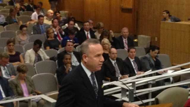 Senate President pro Tem Darrell Steinberg addresses the prison committee on Wednesday (Sept. 4, 2013).
