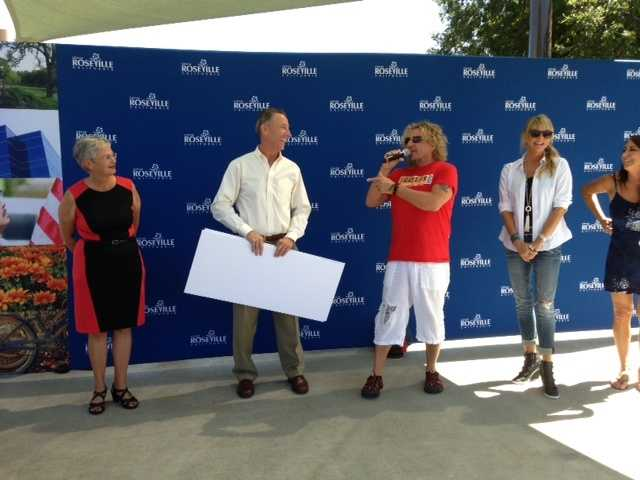 Rock and Roll Hall of Famer Sammy Hagar was in town Thursday, and swung by his restaurant in Roseville to donate money to two local charities.