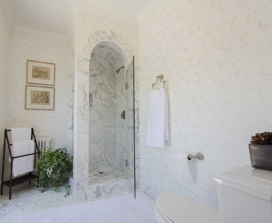 This bathroom and shower have unique designs.