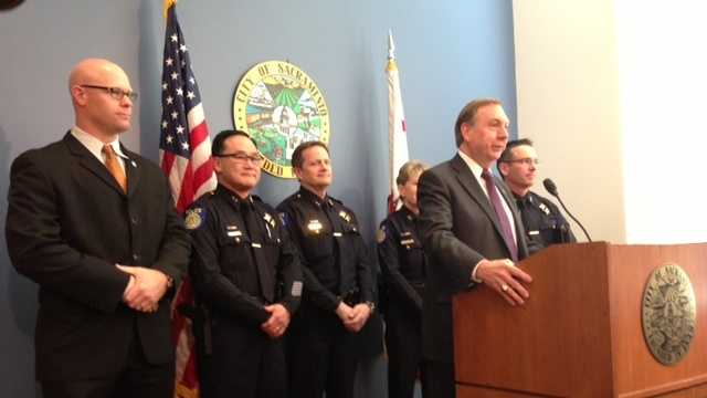 City and police leaders meet earlier this year at Sacramento City Hall.