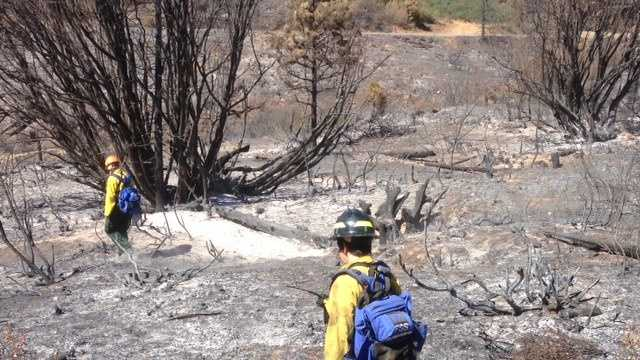 Archaeologists check sites on the Rim Fire (Sept. 18, 2013).