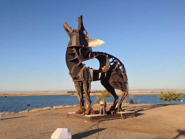 Massive art sculptures have been assembled along the lakeside, as well.