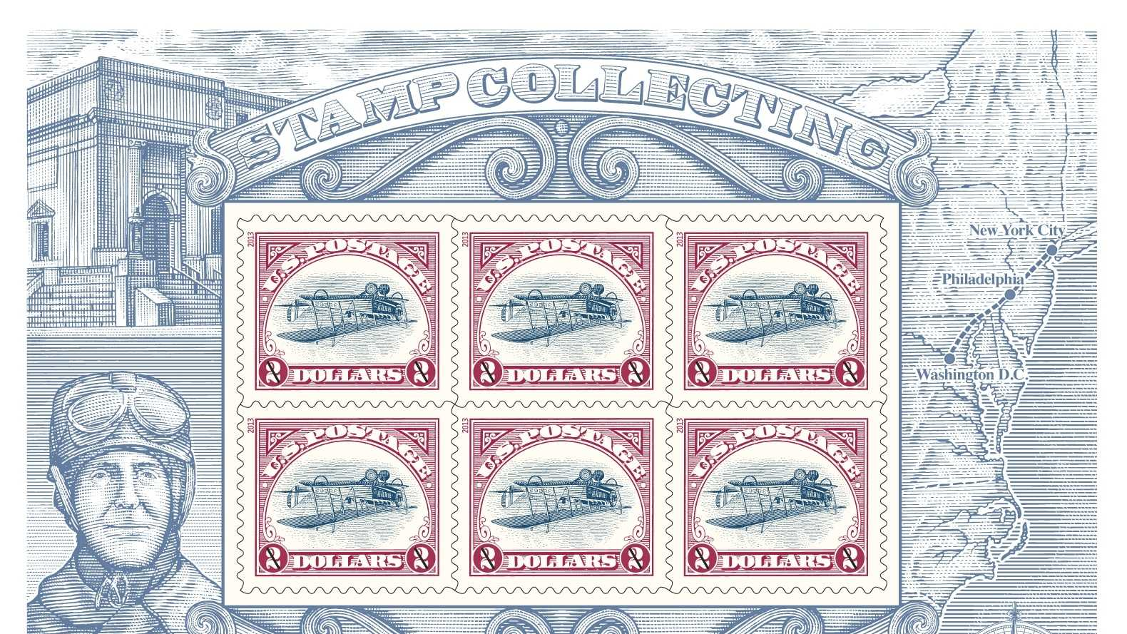 Newly printed sheet of six $2 Inverted Jenny stamps