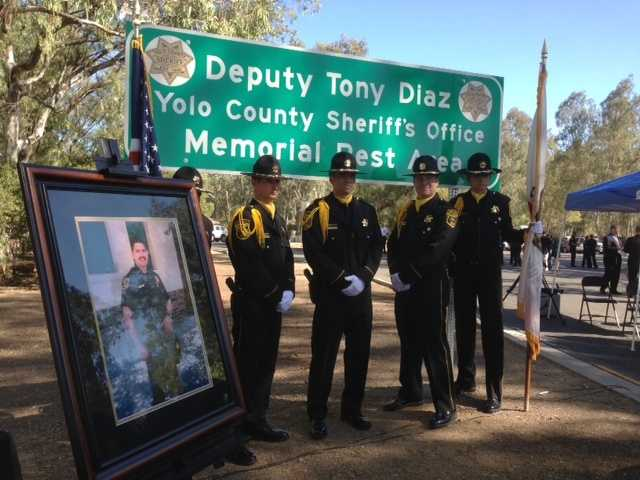 "Assemblywoman Mariko Yamada and Yolo County Sheriff Ed Prieto dedicated the Interstate 5 rest area, ""Deputy Tony Diaz, Yolo County Sheriff's Office, Memorial Rest Area,"" with Diaz's family in attendance."