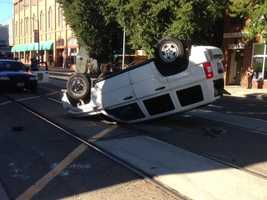 Minor injuries were reported and the driver was taken to an area hospital to be treated.