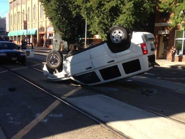 Minor injuries were reportedand the driver was taken to an area hospital to be treated.