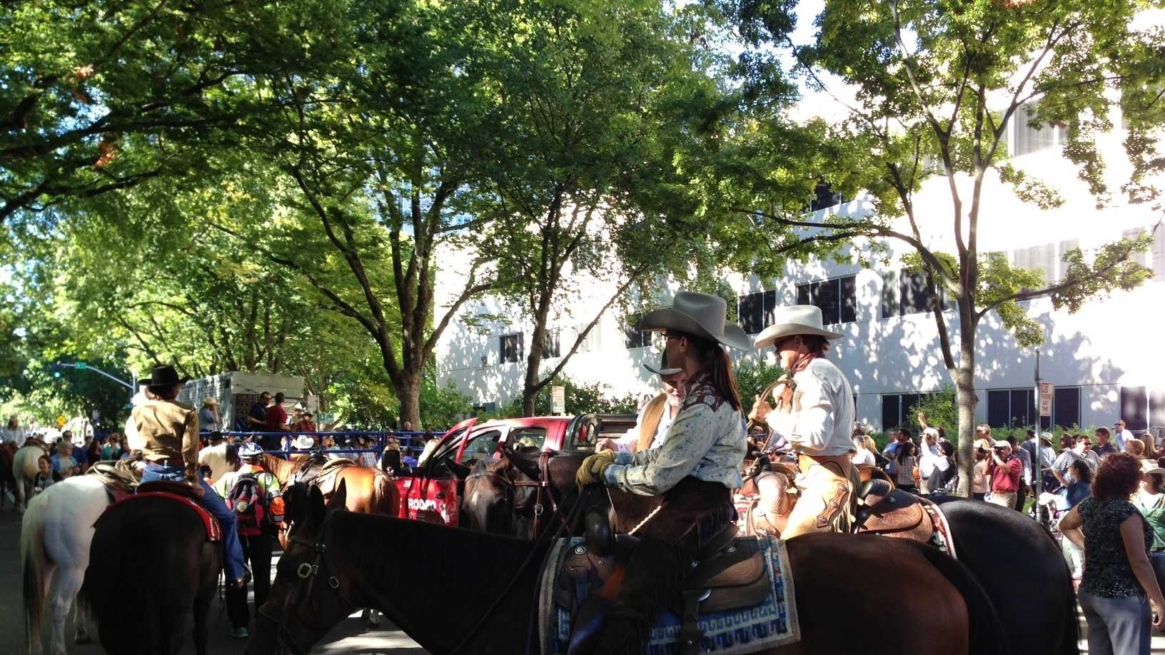 The cattle drive ended at the steps of the state Capitol at a makeshift corral on Ninth Street.