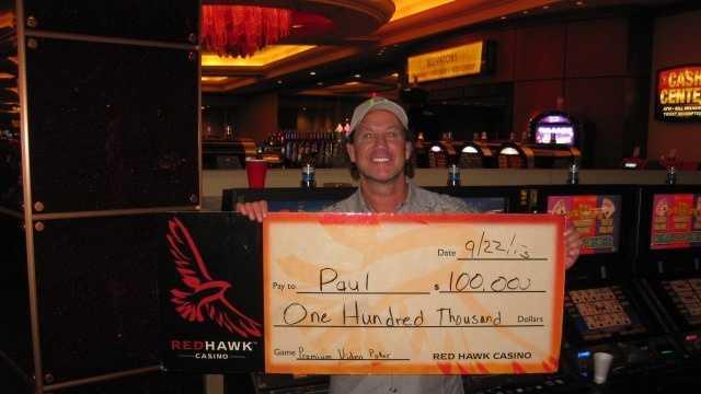 Paul, from El Dorado Hills, won $100,000 from a slot machine.