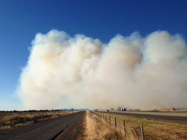 Interstate 505 near the Yolo County city of Winters remained open on Friday morning despite the blaze.