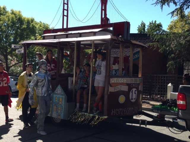 Juniors at RHS won the float competition with their representation of San Francisco, complete with a cable car, the Golden Gate Bridge and famous street signs.