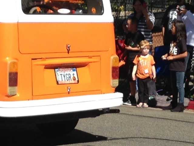 Children lined the streets in Roseville as a the Tiger van paraded by.