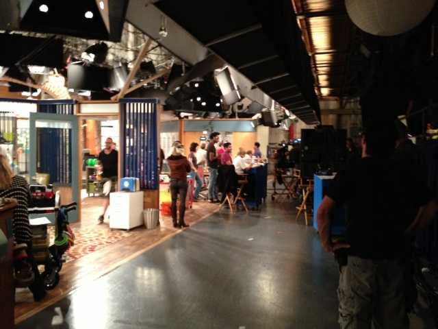 """Behind the scenes at the """"Sean Saves the World"""" set at Universal Studios, Stage 41 in Universal City."""