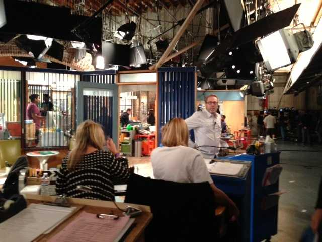 """Cut! Crew members are on the set of """"Sean Saves the World"""" in Universal Studios, Stage 41 in Universal City."""