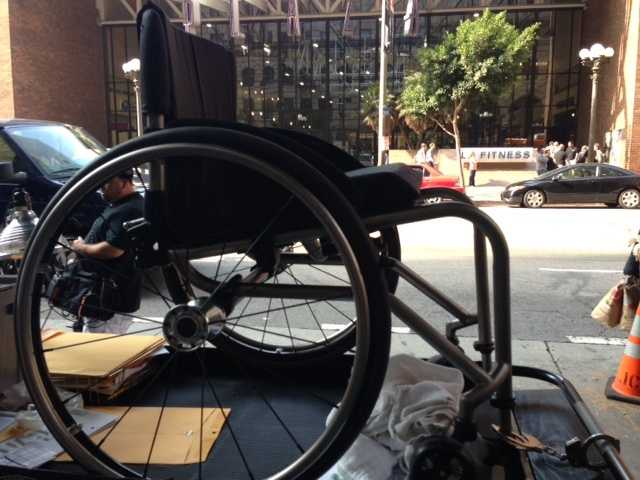 """On """"Ironside,"""" a wheelchair used by Blair Underwood's character is on display."""