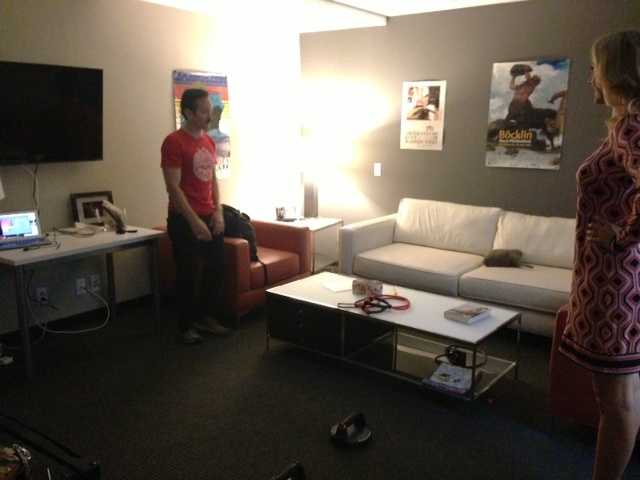 """In a backroom of the set for the new comedy """"Sean Saves the World."""""""