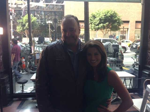 """Lisa Gonzales is on the set with Brent Sexton from """"Ironside."""""""