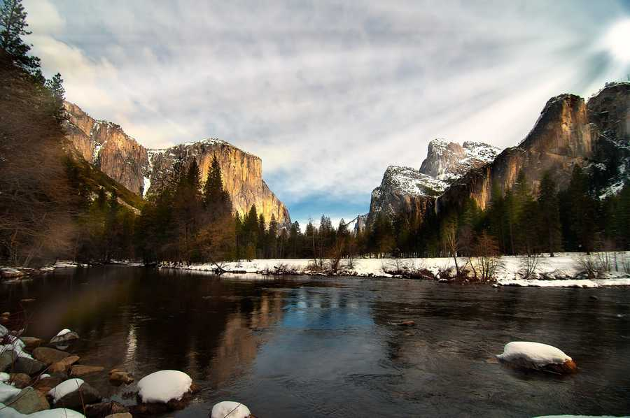 The park includes the natural wonder of Half Dome, spectacular waterfalls and giant sequoia trees.