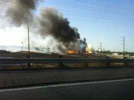 A large fire broke out Thursday at a recycling center on Church Street in Stockton. (Oct. 3, 2013)