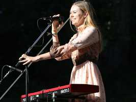 Johanna Söderberg of the Swedish folk duo First Aid Kit interacts with the crowd at Hardly Strictly Bluegrass in San Francisco's Golden Gate Park on Friday, Oct. 4.