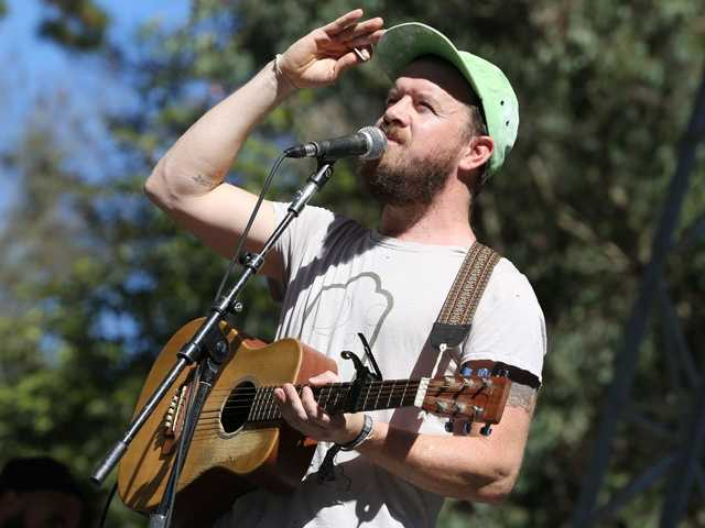 Singer Pete Quirk of The Cave Singers acknowledges the crowd at Hardly Strictly Bluegrass in San Francisco's Golden Gate Park on Friday, Oct. 4.