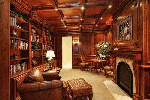 This study area features built-in cabinetry of the highest quality.