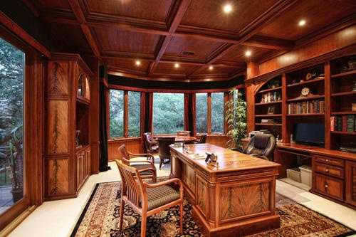 The home has two offices featuring cherry woodwork.