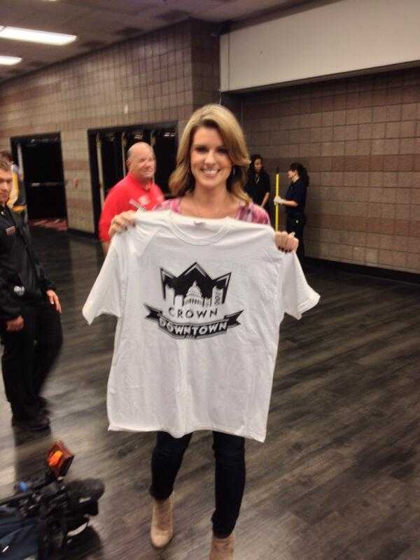 KCRA 3 anchor Kellie DeMarco poses with her Crown Downtown shirt in Las Vegas.
