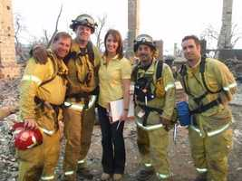 For the last several years, my main job has been full-time anchoring, but during my career, I also have covered hundreds of stories as a reporter. In this photo, I am hanging out with a Manteca Fire Department crew that was deployed to a Santa Barbara wildfire.