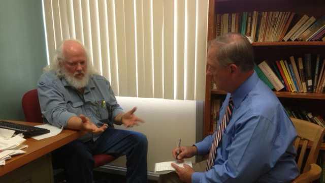 Professor Geoffrey Stockdale speaks to Tom DuHain (Oct. 17, 2013).