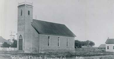 The Methodist Church was dedicated in 1882. Its ceremony garnered plenty of attention as the entire town -- bars and brothels included -- shut down to celebrate the big day. Photo is from 1914.