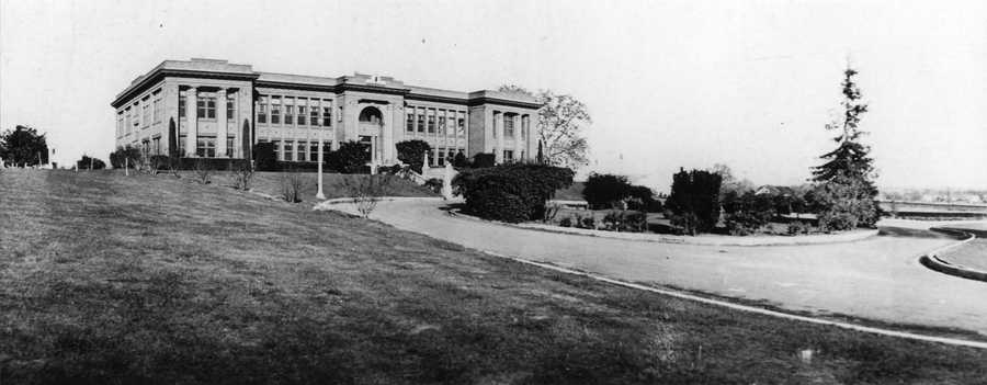 """The School on the Hill"" was built in 1916. As the town grew, railroad workers and their families created the need for the high school. Photo is from 1920."