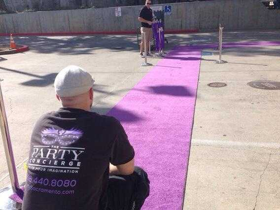 The VIP purple carpet is rolled out at Sleep Train Arena. (Oct. 30, 2013)
